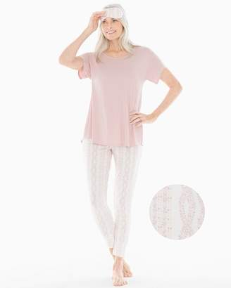 Cool Nights Short Sleeve Banded Ankle Pajama Set With Eye Mask Cozy Cable with Vintage Pink
