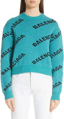 Balenciaga Wool Blend Logo Jacquard Sweater