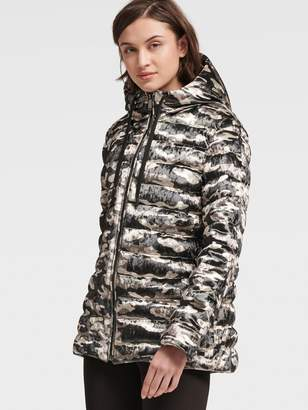 DKNY Velvet Camo Puffer Jacket