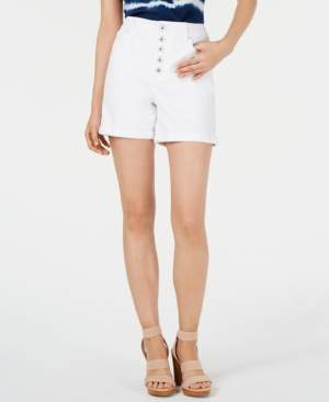 INC International Concepts I.n.c. Button-Fly High-Rise Jean Shorts, Created for Macy's