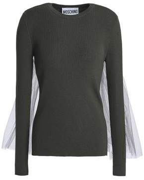 Moschino Tulle-Paneled Ribbed Wool Sweater