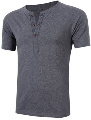 Lintimes Men Casual Short Sleeve Slim Fit Solid Color Cotton Henley Shirt Grey S