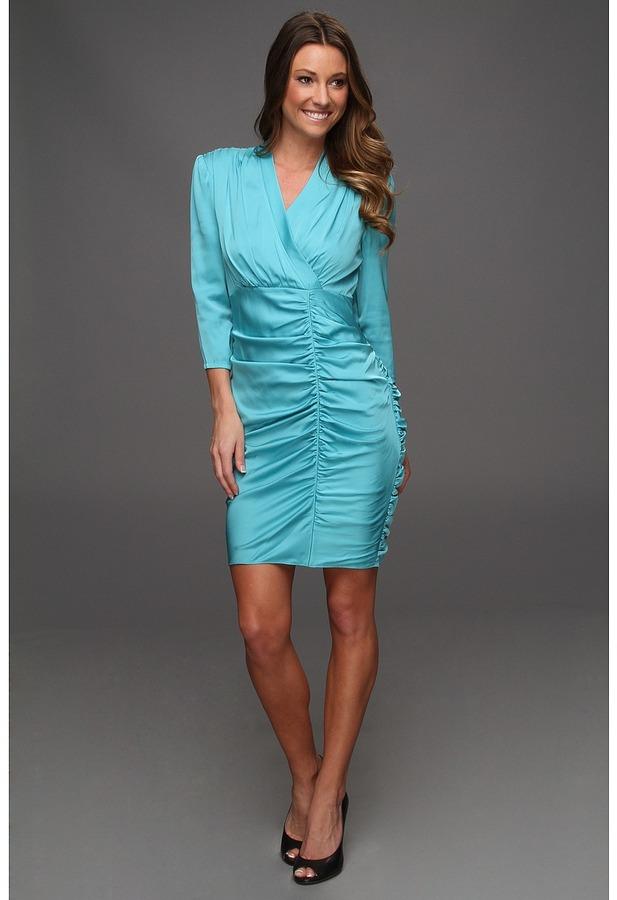 Catherine Malandrino Ruched 3/4 Sleeve Dress (Breeze) - Apparel