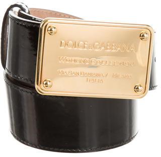 Dolce & GabbanaDolce & Gabbana Patent Leather Logo Belt