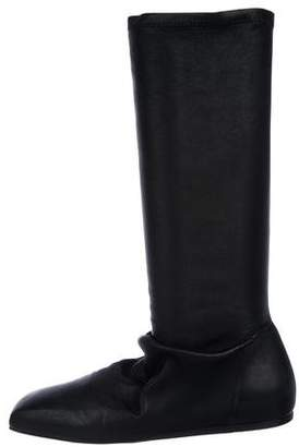 Rick Owens Leather Square-Toe Boots