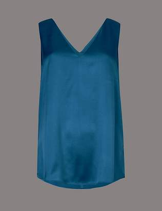 Marks and Spencer Pure Silk V-Neck Sleeveless Blouse