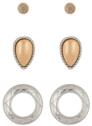 Melrose and Market Two-Tone Pioneer Stud Earrings - Set of 3