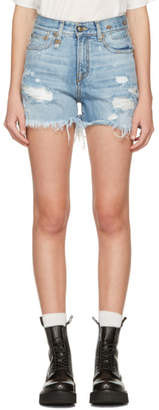 R 13 Blue Denim Shredded Slouch Shorts