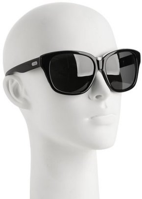 Chloe black plastic metal trim oversized sunglasses