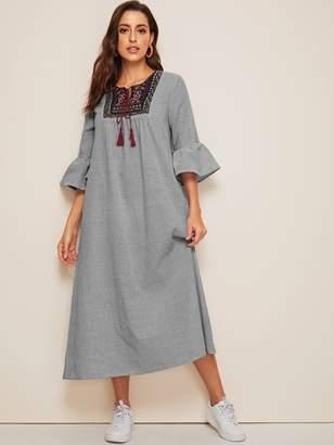 Shein Tassel Tie Neck Embroidered Yoke Bell Sleeve Striped Dress