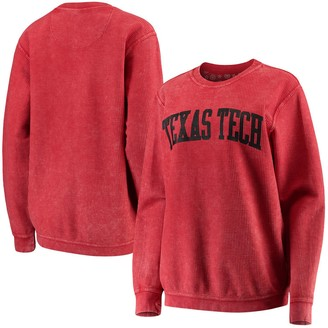 Unbranded Women's Pressbox Red Texas Tech Red Raiders Comfy Cord Vintage Wash Basic Arch Pullover Sweatshirt