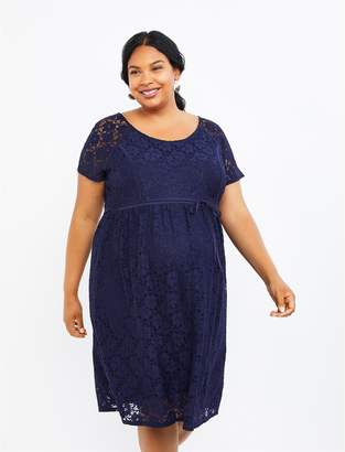 Motherhood Maternity Plus Size Crochet Lace Maternity Dress