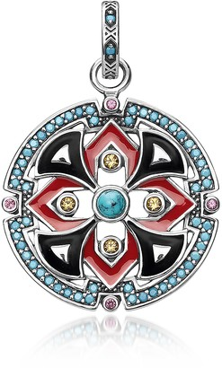 Thomas Sabo Black and Red Enamelled Sterling Silver Round Pendant w/Synthetic Turquoise and Red Corundum