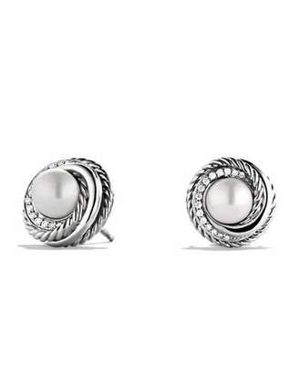 David Yurman Pearl Crossover Earrings with Diamonds