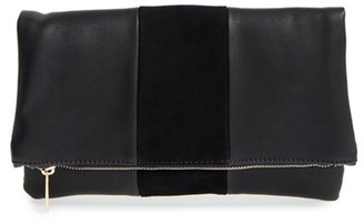 Bp. Tonal Stripe Foldover Clutch - Black $25 thestylecure.com