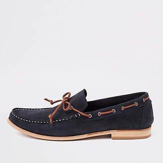 River Island Navy suede tie front loafers