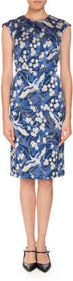 Erdem Analena Floral-Print Swan Jacquard Pencil Dress