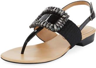 Neiman Marcus Yaika Embellished Calf Hair Thong Sandals, Black