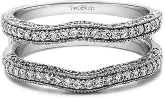 TwoBirch 0.74 Ct Twt Contour Ring Guard with Millgrained Edges and Filigree Cut Out Design set with Man Made Diamonds ,VS2-SI1 (3/4 CT) with 0.74 cts of Diamonds (,VS2-SI1) in 14k White Gold