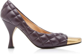 Bottega Veneta Dream Quilted Leather Cap-Toe Pumps Size: 39