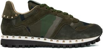 Valentino Green Camo Rockstud Sneakers $795 thestylecure.com