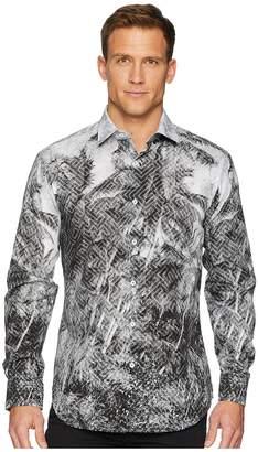 Bugatchi Shaped Fit Geo Palm Woven Shirt Men's Clothing