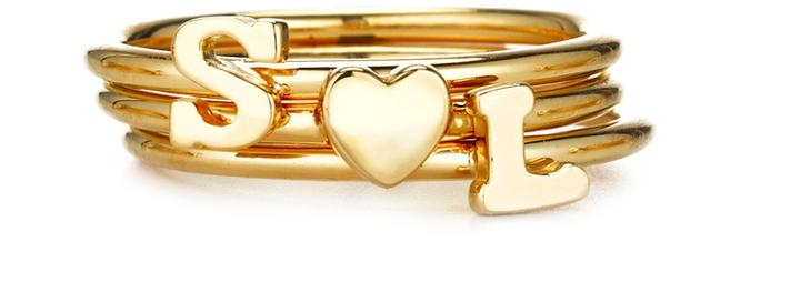 Sarah Chloe Stackable Shea Initial Ring