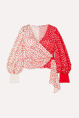 Self-Portrait Guipure Lace-trimmed Printed Satin Wrap Top - Red