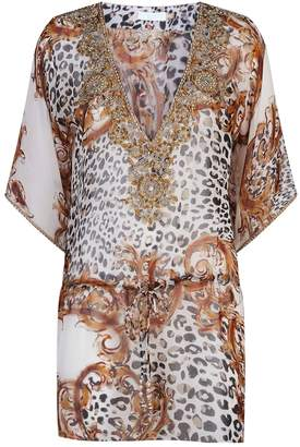 Elizabeth Hurley Embellished Cheetah Kaftan