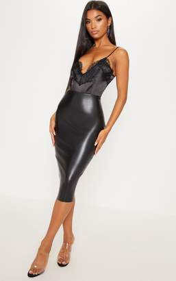PrettyLittleThing Basic Black Faux Leather Midi Skirt