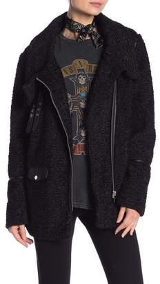 Bagatelle Oversized Faux Leather Trim Biker Jacket