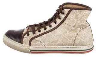 Gucci GG Canvas Leather-Trimmed Sneakers