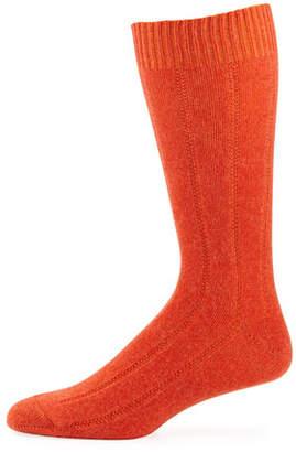 Neiman Marcus Men's Ribbed Cashmere Socks