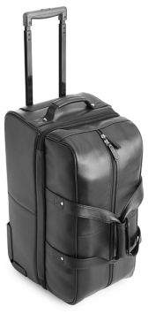 ROYCE New York Pebbled Leather Carry-On Rolling Duffel Bag
