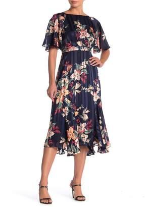 Maggy London Flutter Sleeved Pleated Midi Dress