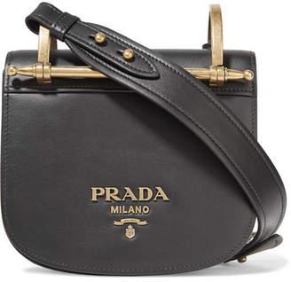 Prada Pionnière Leather Shoulder Bag - Black