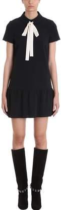 RED Valentino Black Stretch Frisottine Dress
