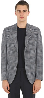 Lardini Checked Wool, Silk & Linen Jacket