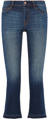 J Brand - Selena Cropped Mid-rise Bootcut Jeans - Mid denim $230 thestylecure.com
