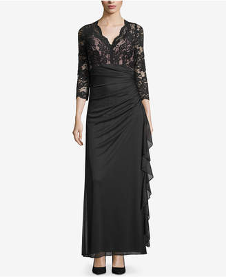 Betsy & Adam Ruffled Lace Gown