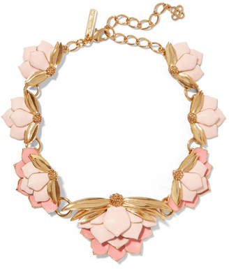 Painted Wild Lotus Gold-plated Necklace - Pink