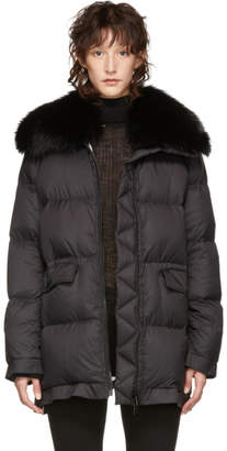 Yves Salomon Army Black Ultra Light Down Puffer Jacket
