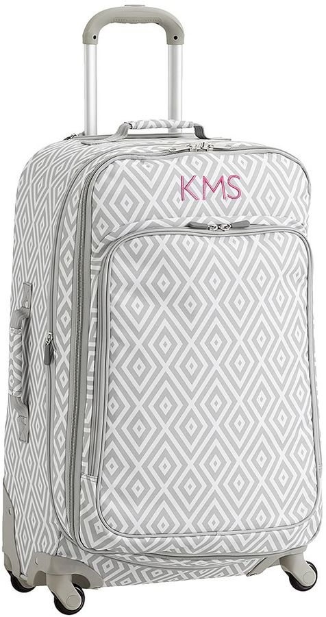 Jet Set Luggage, Preppy Diamond Gray Checked Spinner, Gray