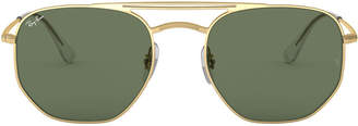Ray-Ban Men's Hexagonal Metal Sunglasses with Solid Lenses