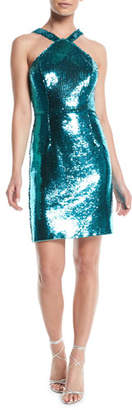 Aidan Mattox Sequin Halter Mini Dress