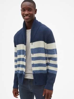 Gap Ribbed Stripe Shawl Cardigan Sweater
