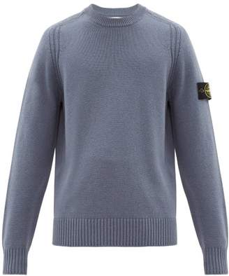 Stone Island Logo Patch Wool Blend Sweater - Mens - Navy
