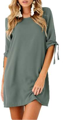 Menglihua Womens Solid Color Tie Sleeve Crew Neck Tunic Shift A Line Shirt Mini Dress