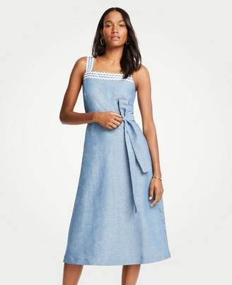 Ann Taylor Wavy Trim Chambray Midi Dress