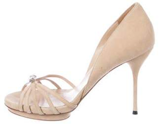 Gucci Embellished d'Orsay Sandals Tan Embellished d'Orsay Sandals